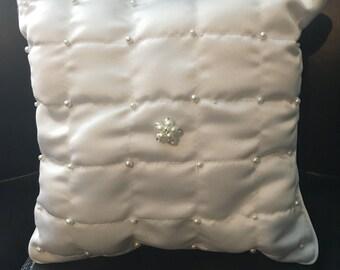 White Pearl Ring Bearer Pillow