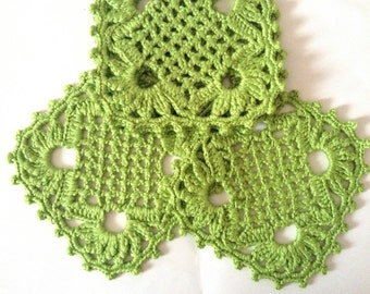 Crochet Coasters , Set of 4 Green Square Coaster , Drink Coasters , Mug Mats , Rustic Cottage Kitchen Decor