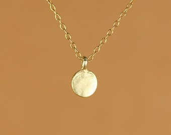 Tiny gold dot necklace - everyday necklace - dainty necklace - dot necklace - circle necklace - a tiny gold disc on a 14k gold vermeil chain