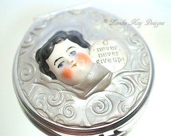 Never Give Up Doll Face Compact Mirror Magnifying Purse Mirror Mixed Media Frozen Charlotte Head Lorelie Kay Original