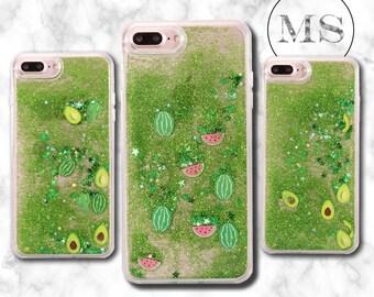Liquid, Quicksand glitter Watermelon, cactus, avocado case for iPhone X, 8, 8 Plus, 7, 7 Plus, 6s, 6s Plus, 6, 6 Plus, cheap, green