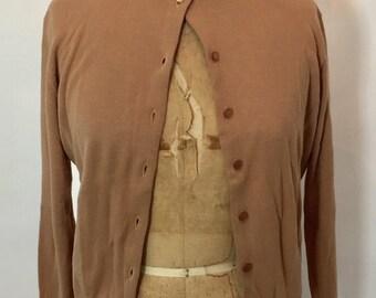 ON SALE 1950s cardigan: camel cardigan / 50s camel cardigan / VTG camel sweater / camel sweater / 50s camel sweater / cardigan / 50s pinup c
