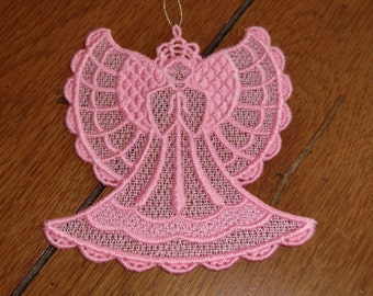 Embroidered Ornament - Christmas - Angel Pink All Thread