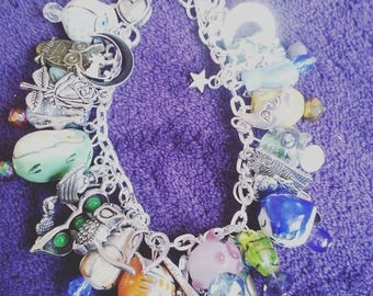 The Owl and the Pussycat, cat and owl Charm bracelet, loaded charm bracelet, by NewellsJewels on etsy