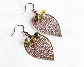 Copper Leaf Earrings, Antiqued Copper Plated Filigree Leaf Dangle Earrings with Green Bead Accents, Autumn Jewelry