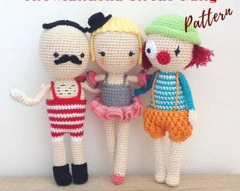 Manuska Circus Gang | Crochet Doll Pattern, Amigurumi doll pattern, Crochet Circus Pattern, Amigurumi Pattern, Amigurumi Doll, Crochet Doll