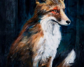 Fox Art Print, Art Print, The Offering, 9x12 print
