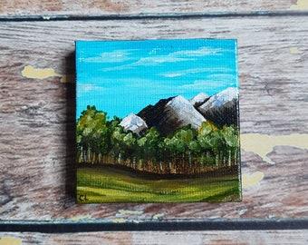 "Miniature Mountain Painting   Magnetic Canvas Original Art   Landscape Painting   Mountain Art   Mountainscape   Fridge Magnet   2.5x2.5"""