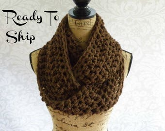 Ready To Ship Brown Infinity Scarf Crochet Knit Women's Accessories Eternity Fall Winter