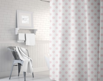 Pink Shower Curtain, Polka Dots, Ikat, Girls Bathroom Decor, Girls Shower Curtain, Teen Room Decor, Pink Decor, 71x74, 71x94, Gifts for Her