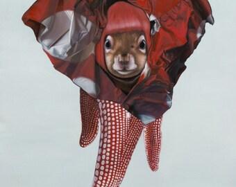 Package of three greeting cards and envelopes. Yayoi Kusama Squirrel. Japanese Pop Surrealism Animal Art