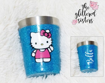 Hello Kitty Glitter Tumbler Hello Kitty Personalized Tumbler Glitter Tumbler