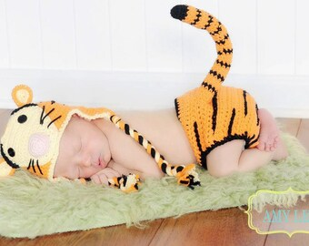 Crochet Baby Tiger Outfit - Tiger Hat Diaper Cover with Tail - Tigger Baby Set - Photo Prop - Baby Shower Gift - Newborn Halloween Costume