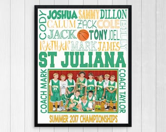 BASKETBALL TEAM GIFT ~ Basketball Gifts ~ Personalized Basketball ~ Boys Basketball Team ~ Printable Basketball Subway Art ~ Personalized