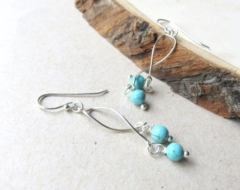 Dainty Turquoise Earrings, Tiny Turquoise Beads, Sterling Silver Gemstone Earrings, Round Balls, Southwestern, Tribal, One of a Kind Gift