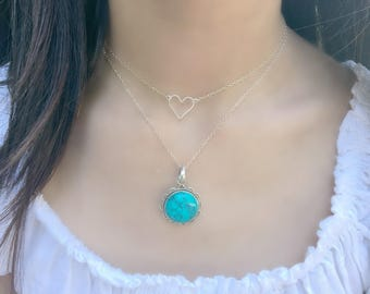 Layered Turquoise Necklace Turquoise Jewelry Turquoise Gemstone Heart 925 Sterling Silver Beach Jewelry Heart Necklace Summer Necklace Gift
