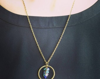 Blue Circle Ombre Pendant Necklace