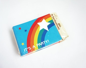 One Package of Vintage Rainbow Party Invitations / Four Available