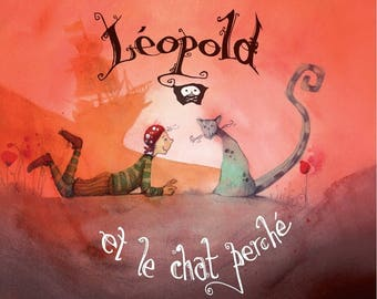 Leopold and cat perched - children's book illustrated