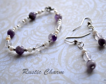 Faceted Amethyst Bracelet and Earring Set
