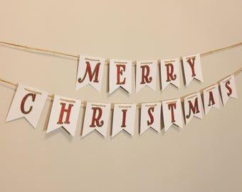 Merry Christmas Banner - Holiday Banner -  Merry Christmas Decor