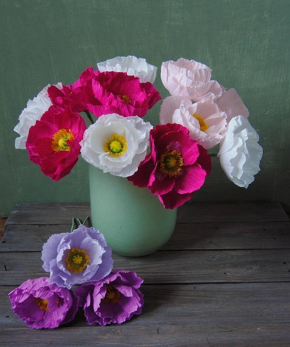4 purple and fuchsia Poppies bridal bouquet bridesmaids