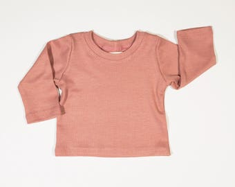 Girl's Dusty Pink Waffle Weave Thermal Tee Shirt
