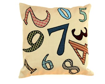 Number pillow, appliqued pillow, heavy weight fabric, cotton canvas pillow complete with insert, throw pillow, typography