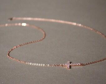 The cross necklace rhinestone crewneck