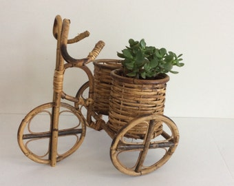 Rattan Plant Basket-Bamboo Tricycle Planter