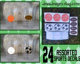 24 Assorted sports vinyl decals athletic party Birthday party decoration sports balls birthday party vinyl cup sticker party cup stickers