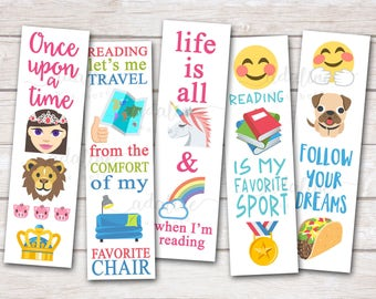 Printable Bookmarks, Emoji Bookmarks, Emoji Party Favors, Planner Bookmark, DIY Bookmark, Tween Bookmarks, PDF Download, Kids Bookmark
