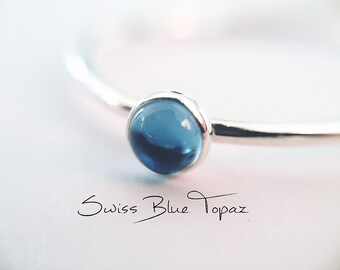 Blue Topaz Stacking Ring, Blue Topaz Ring, Engagement Ring, December Birthstone, Swiss Blue Topaz, Gemstone Stacking Ring, Blue, Topaz, Gift