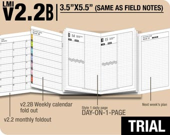Trial [FIELD NOTES v2.2B w DS1 do1p] July to September 2018  - Midori Travelers Notebook Refills Printable Planner.
