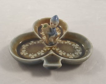 Vintage Clover and Leprachun ring/tricket dish