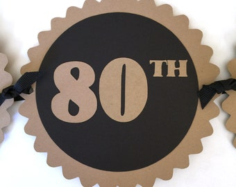 80th Birthday Banner - Happy 80th Birthday - Kraft Brown, Black or Your Choice of Colors