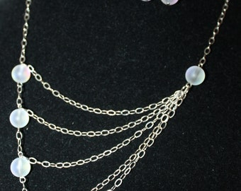Moondrops Silver Chain Opalite Asymmetrical Necklace and Earrings