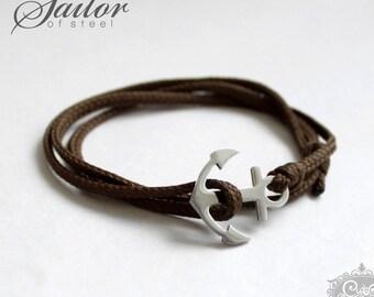 SAILOR of steel - khaki wrap bracelet anchor stainless steel