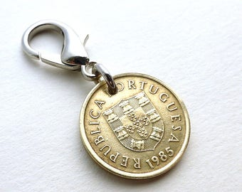 Portuguese, Zipper charm, 1985, Purse charm, Handbag charm, Vintage charm, Zipper pull, Coins, Charms, Accessories, Gift for her, Girls gift