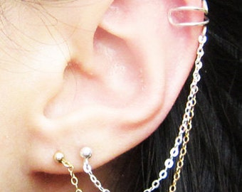 Sterling Silver & Gold Filled Chains Double Piercing Cuff Earring