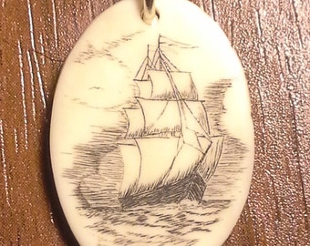 Scrimshaw Ship with a Squall Approaching