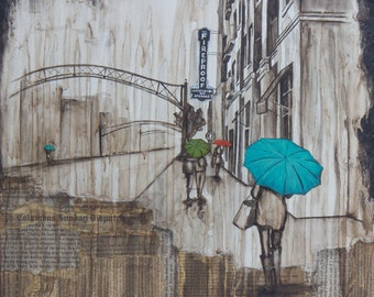 The Short North Rain Print, titled The Short North, Rainy Day Art, Columbus Ohio Art, Mixed Media Art Print
