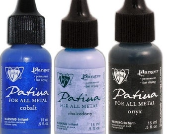 Cobalt, Onyx or Chalcedony Patina Paint Vintaj by Ranger Ink For ALL Metals Bright Deep Blue, Light Lavender Blue or Black