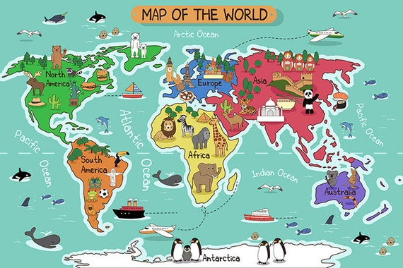 Childrens world map wallpaper removable wall mural animal gumiabroncs Image collections