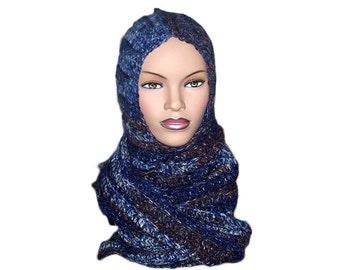 Denim Hooded Scarf - Womens Scarf, Mens Scarf -Denim Crocheted Scarf