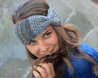 SALE Ear Warmer Headband, Crochet Ear Warmer, Winter Headband, Wool Headband, Ear Warmer, Charcoal, Knit Accessories