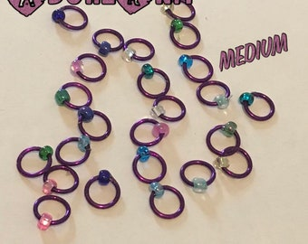 Design YOUR OWN Ring Stitch Markers, ring markers, notions, Purple Stitch markers, knitting, gift, bracelet, necklace,stitchmarkers