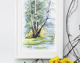 Spring birch  Cross Stitch Pattern,  Landscape Pdf Digital Cross Stitch Pattern ,