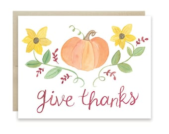 Thanksgiving Card, Give Thanks Card, Fall Greeting Card, Pumpkin Card, Fall Sunflower Card, Harvest Greeting Card, Thanksgiving Pumpkin Card
