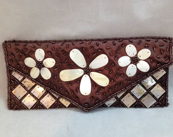 Clutch Style Purse by Mad by Design Handmade Mother of Pearl and Natural Horn With Beaded detail    01806